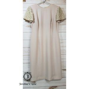 💃 STUNNING Donna Morgan Ivory Pearl Sleeve Dress